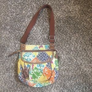 Fossil Brown Floral Multi Colored Crossbody Purse